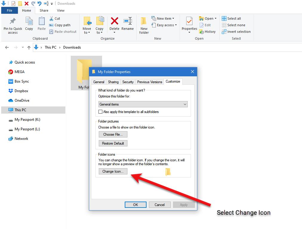 Select Change Icon